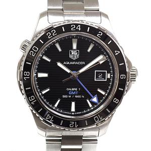 TAG HEUER Heuer Men's Watch Aqua Racer 500m Caliber 7 GMT WAK211A.BA0830 Black (Black) Dial Automatic