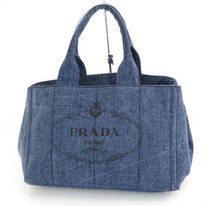 プラダ(Prada) プラダ PRADA ブルー デニム カナパ B1877B トートバッグ レディース 【mi】【中古】