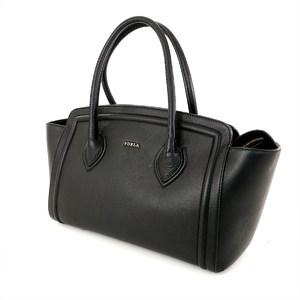 Furla FURLA Black Leather Handbag Ladies Bag Simple Design
