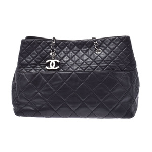 CHANEL MATRASSE chain tote bag black SV metal fittings lady's calf AB rank used silver warehouse