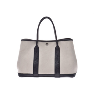 Hermes Garden Party 30 Ivory / Black □ Q Stamp Ladies Canvas Buffle Handbag AB Rank HERMES Box Used Ginzo