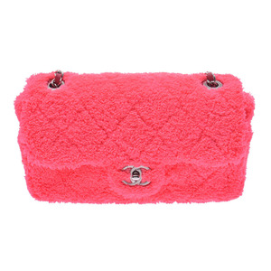 Chanel flap bag pink SV metal fittings current product lady's mixed fiber / lambskin calfskin shoulder new article CHANEL box gala silver warehouse