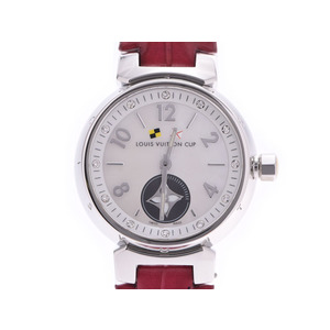 ルイヴィトン タンブール ラブリーカップ 12Pダイヤ シェル文字盤 Q12MO レディース SS/革 クォーツ 腕時計 Aランク LOUIS VUITTON 中古 銀蔵