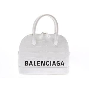 Balenciaga Ville S White Ladies' Men's Croco-Embossed 2WAY Handbag AB Rank BALENCIAGA Shop Card Used Ginzo