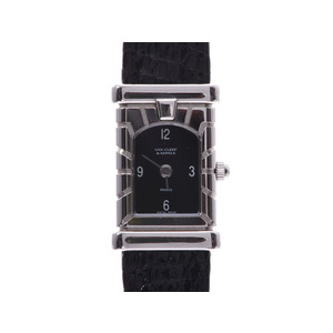 Van Cleef & Arpels Facade Black Dial Ladies SS / Leather Quartz Watch A Rank Good Condition Gala Used Ginzo