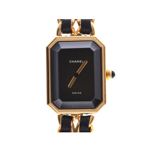 Chanel Premiere L size Black Dial H0001 Ladies GP / Leather Quartz Watch AB Rank CHANEL Used Ginzo