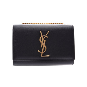 Saint Laurent Classic Monogram Satchel Black G Hardware Ladies Leather Chain Shoulder Bag A Rank SAINT LAURENT Used Ginzo