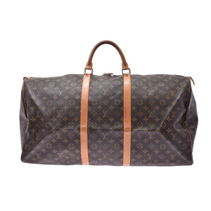 Louis Vuitton Monogram Keepall 60 Brown M41422 Men's Women's Leather Boston Bag B Rank LOUIS VUITTON Used Ginzo