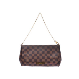 Louis Vuitton Damier Favorite MM Brown N41129 Ladies Genuine Leather 2WAY Shoulder Bag A Rank LOUIS VUITTON Used Ginzo