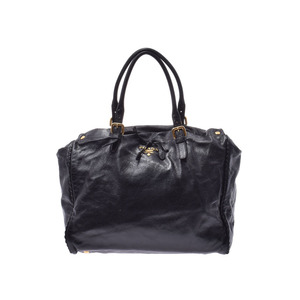 Prada 2WAY Handbag Black G Hardware Ladies Calf B Rank PRADA Used Ginzo
