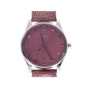 Gucci G Timeless Pink Shell Dial 126.5 Ladies SS / Leather Quartz Watch A Rank GUCCI Used Ginzo