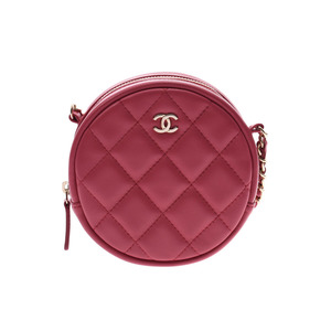 Chanel Matrasse chain clutch round type pink G metal fittings lady's lambskin bag new beauty goods CHANEL box used silver warehouse