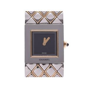 Chanel Matrasse Black Dial H0475 Ladies SS / YG Quartz Watch AB Rank CHANEL Used Ginzo