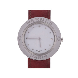 Hermes Pass White Dial PP1.610 Men's Women's SS Leather Quartz Watch A Rank Good Condition HERMES Used Ginzo