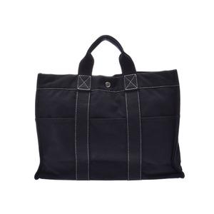 Hermes Deauville MM Black Men's Women's Canvas Tote Bag Rank HERMES Used Ginzo