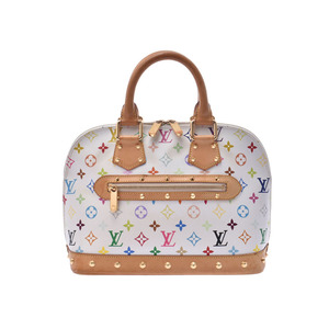 Louis Vuitton Multicolor Alma White M92647 Ladies Genuine Leather Handbag B Rank LOUIS VUITTON Used Ginzo