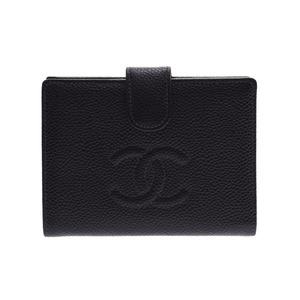 シャネル(Chanel) シャネル がま口財布 黒 G金具 レディース キャビアスキン 新同 美人 CHANEL ギャラ 中古 銀蔵