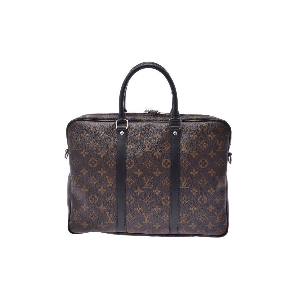 Louis Vuitton Macassar PDV PM Brown / Black M52005 Men's Ladies Genuine Leather 2WAY Business Bag