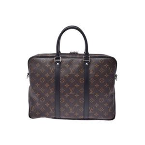 Louis Vuitton Macassar PDV PM Brown / Black M52005 Men's Ladies Genuine Leather 2WAY Business Bag A Rank Good Condition LOUIS VUITTON