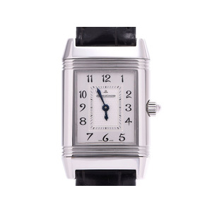 Jaeger Lecoultre Reverso Silver Dial 266.8.44 / Q2668411 Ladies SS Leather Bezel Diamond Manual Winding Watch AB Rank JAEGER-LE COULTRE Box Gala Used Ginzo