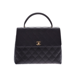 CHANEL MATRASE handbag black G metal fittings lady's caviar skin A rank