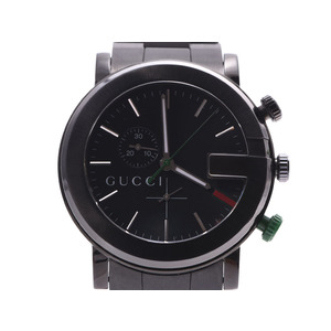 Gucci Chronograph Black Dial 101M Men's SS Quartz Watch AB Rank GUCCI Used Ginzo