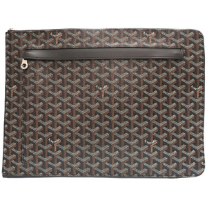 Goyar Sorbonne Black Coated Canvas Clutch Bag Document Case 0237 GOYARD