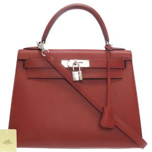Hermes Kelly 28 Outer seam Vau Epson Rouge Venetian Silver metal fittings □ M stamp new V Handbag Bag 0089 HERMES
