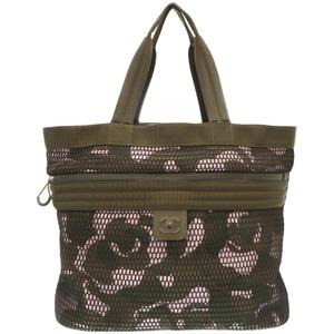 Chanel Sports Mesh Tote Bag Camellia Nylon Khaki 0235 CHANEL