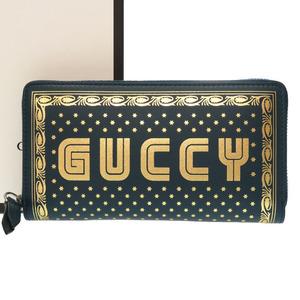 Gucci GUCCY print round fastener long wallet 524338 SEGA blue green 0241 GUCCI men