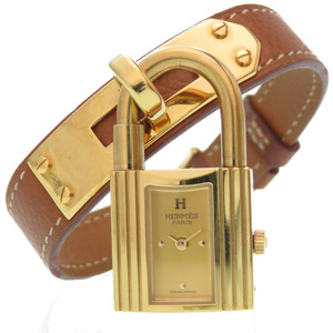 Hermes Kelly Watch Quartz Wrist Kushbell Gold 〇 X stamp 0001 HERMES Ladies