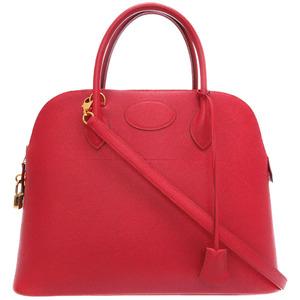 Hermes Borido 35 Kushbel Rougevif gold metal fittings □ A stamped handbag bag with strike red 0138 HERMES