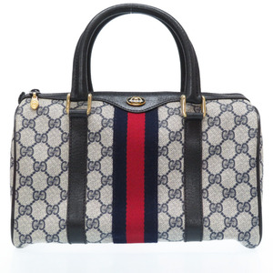 Gucci Old GG Pattern PVC Boston Handbag Navy 0038 GUCCI