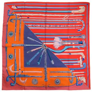 Hermes cane cannes et silk orange blue scarf 0113 HERMES