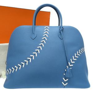 Hermes Boredo 45 Baseball Ever Color Azure C Stamp (Made in 2018) Handbag Bag Blue 0254 HERMES Bored 1923