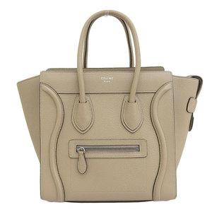 Genuine CELINE Celine Leather Luggage Micro Shopper Beige