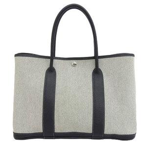 Genuine HERMES Hermes Garden Party PM Tote Bag Black × Gray □ H Stamp Leather