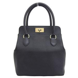 Genuine HERMES Hermes Swift Tool Box 20 2WAY Bag Black Gold Hardware X Stamp Leather