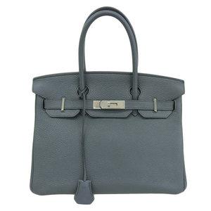 Genuine HERMES Hermes Togo Birkin 30 Handbag Blue Orage □ Q stamped leather