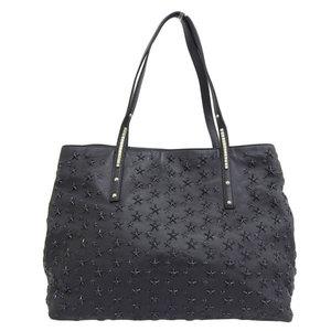 Genuine JIMMY CHOO Jimmy Choo Star studs tote bag black leather