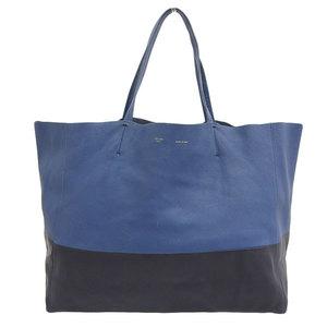 Genuine CELINE Celine Leather Hippo Tote Bag Blue Black