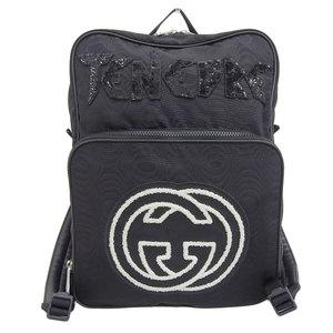 Genuine GUCCI Gucci interlocking G nylon backpack black 536724 leather