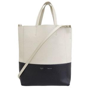 Genuine CELINE Celine Cabas 2WAY Bicolor Tote Bag White x Black Leather