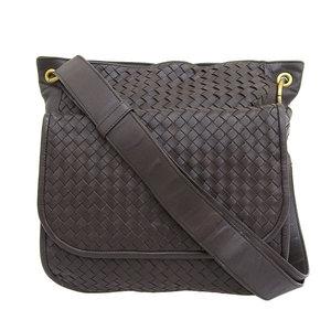 Genuine Bottega Veneta Intrechart Shoulder Bag Brown Leather