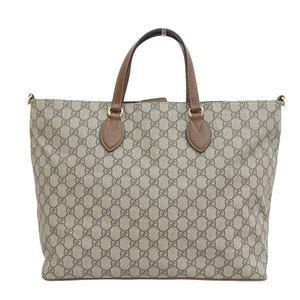Genuine GUCCI Gucci GG Supreme 2way tote bag beige brown 453705 leather