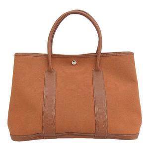 Genuine HERMES Hermes Garden Party PM Tote Bag Orange □ J engraved leather