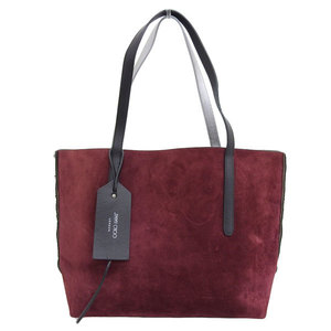 Genuine JIMMY CHOO Suede × Leather Tote Bag Black Bordeaux Silver