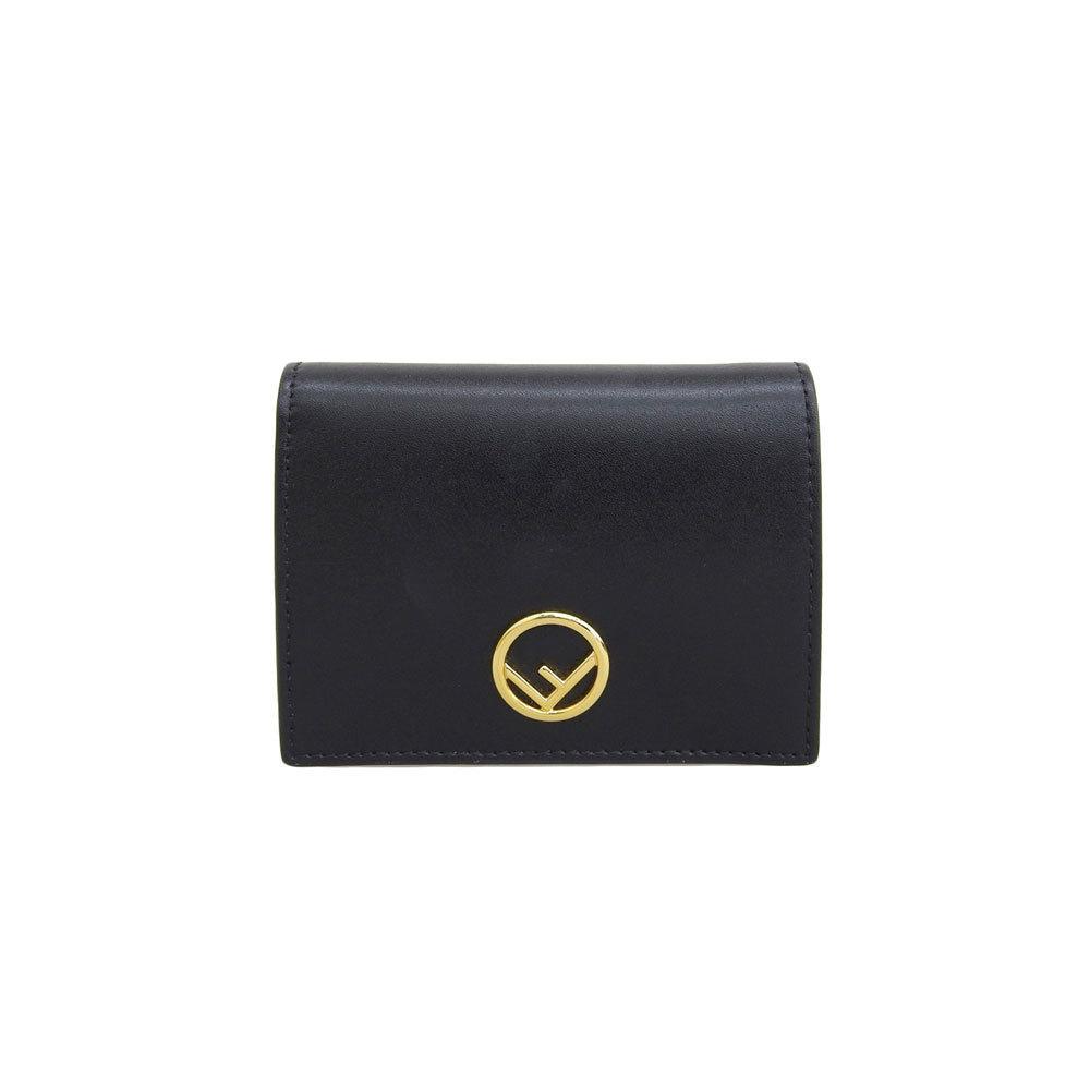 Fendi Kanaev Folded Wallet Black Gold Hardware Leather