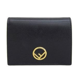 Genuine FENDI Fendi Kanaiev Folded Wallet Black Gold Hardware Leather