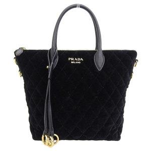 Genuine PRADA Prada Velvet 2WAY Tote Bag Shoulder Black Leather